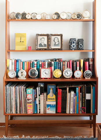 small clocks on a shelf ideas