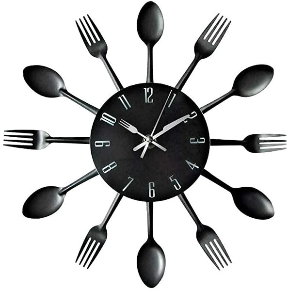 Spoon and Fork Black Kitchen Clock
