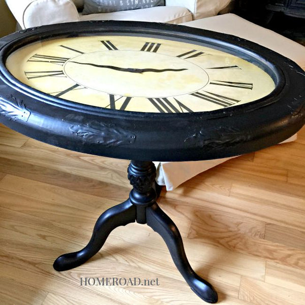 end table made of old clock