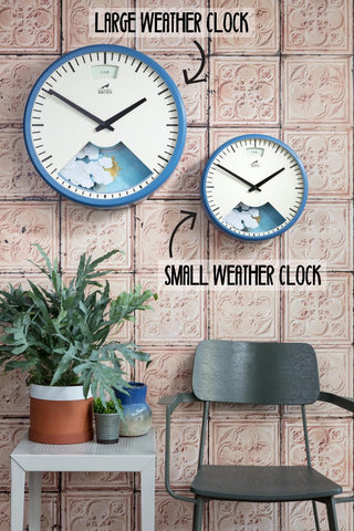 Large and Small Weather Clocks side by side