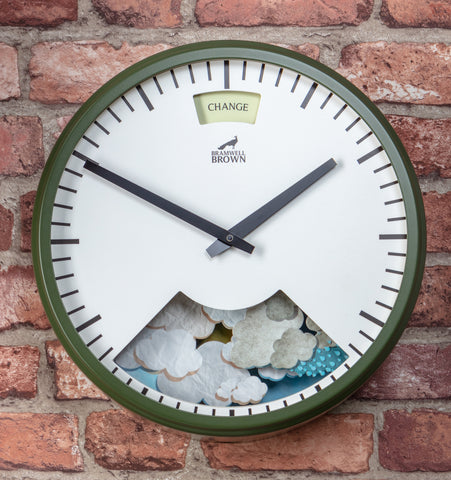 spring green weather clock