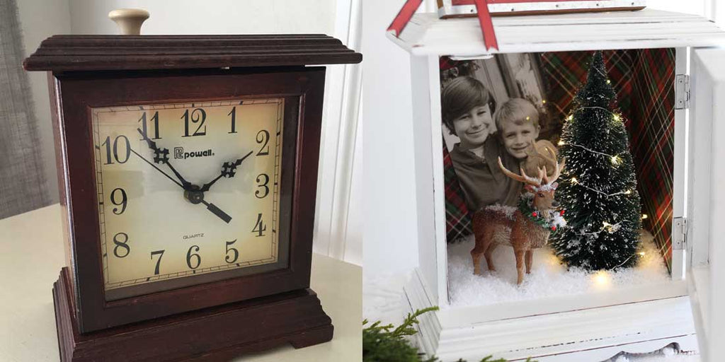 shadow box made from old clock