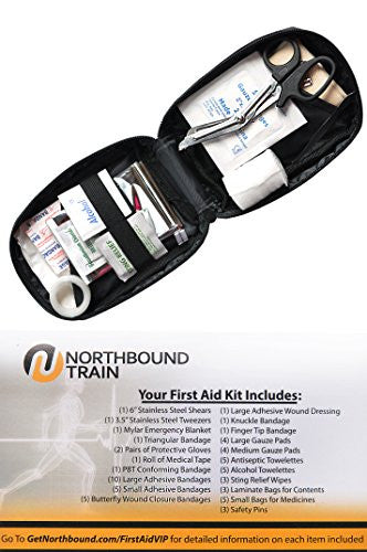 Light and Durable First Aid Kit for Camping, Hiking, Car. Fully Stocked for an Emergency, Survival, Travel, or Home.