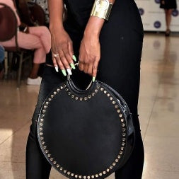 Black Stud Circle Handbag