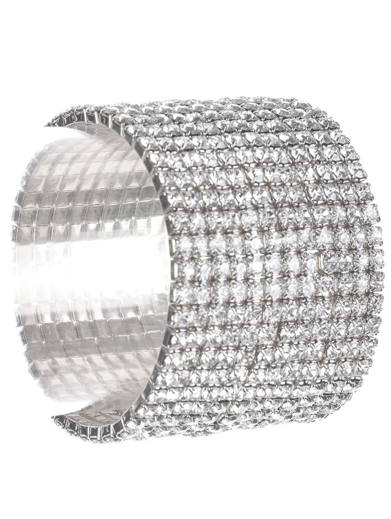 12 Row Rhinestone Stretch Bracelet-Silver