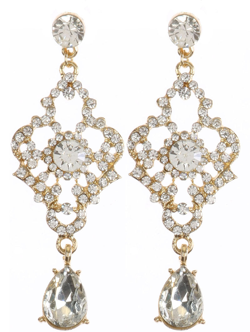 Crystal Chandelier Earrings-Gold