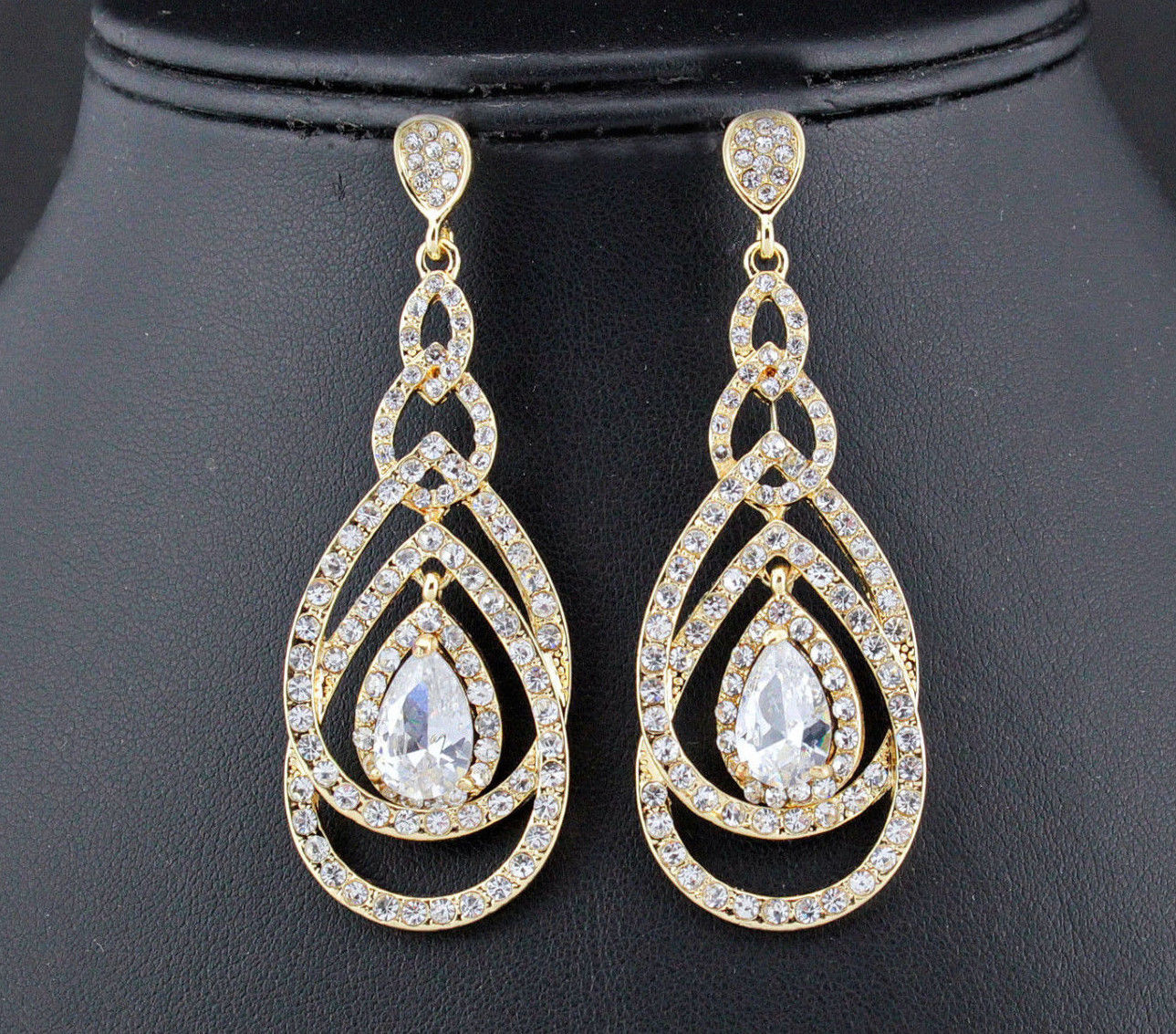 Gold Crystal Pear Drop Earrings