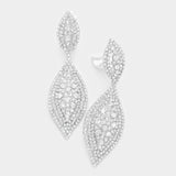 Silver Crystal Pear Drop Earrings-CLIP