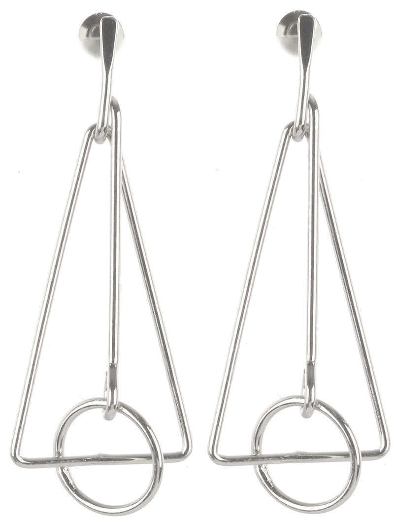 Silver Triangle Geo Earrings
