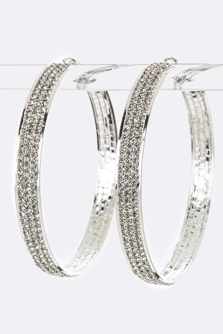Rhinestone Xlarge Hoop Earrings