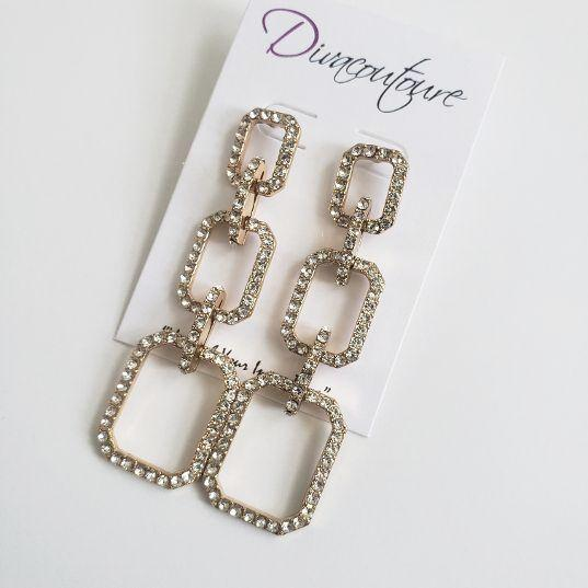 Rhinestone Triple Square Earrings