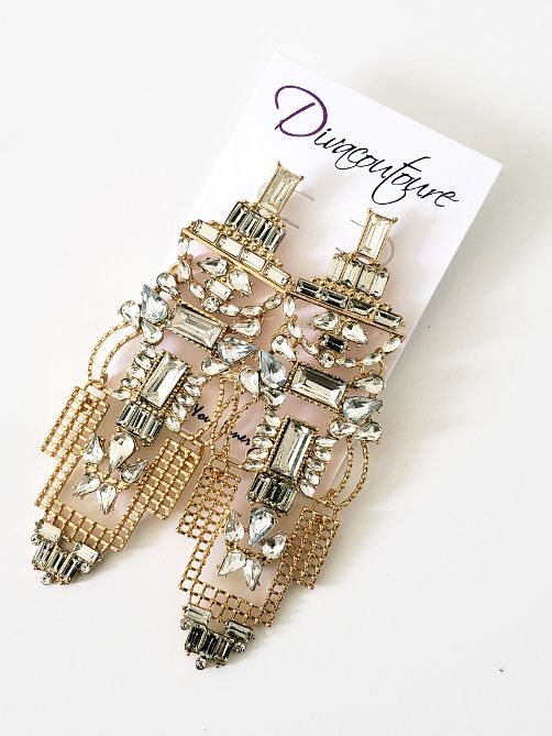 Gold Baguette Stone Mesh Earrings