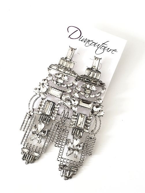 Silver Baguette Stone Mesh Earrings