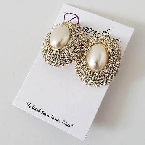 Cream Pearl Rhinestone Accent Earrings-Clip