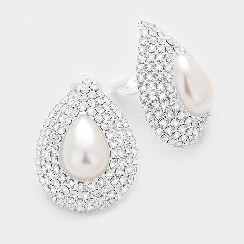 White Pearl Rhinestone Accent Earrings-Clip