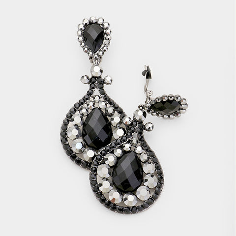 Black Crystal Drop Earrings-CLIP