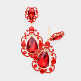 Red Crystal Scroll Drop Earrings-CLIP
