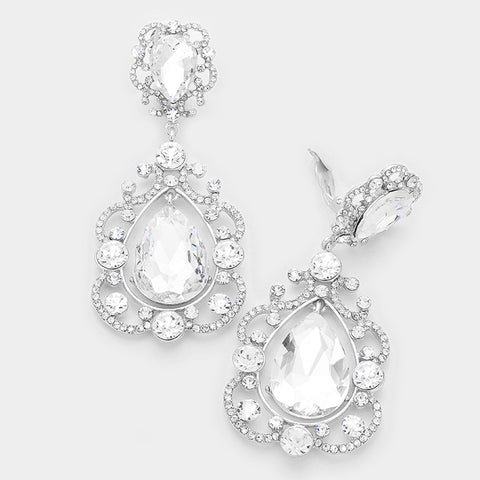 Clear Crystal Scroll Drop Earrings-CLIP
