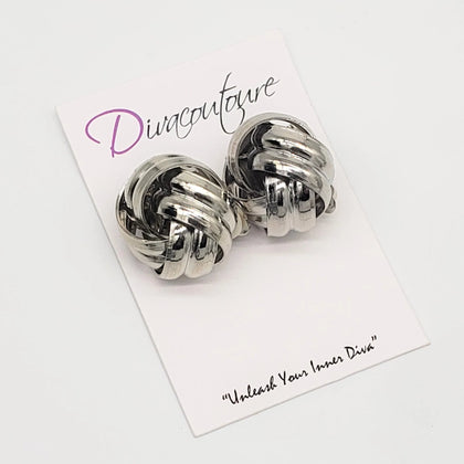 Silver Knot Earrings-CLIP