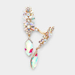 AB Gold Crystal Drop Earrings-CLIP