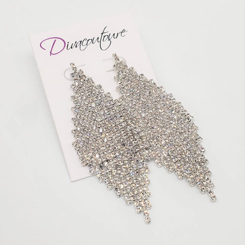 Diamond Shape Rhinestone Earrings-Silver