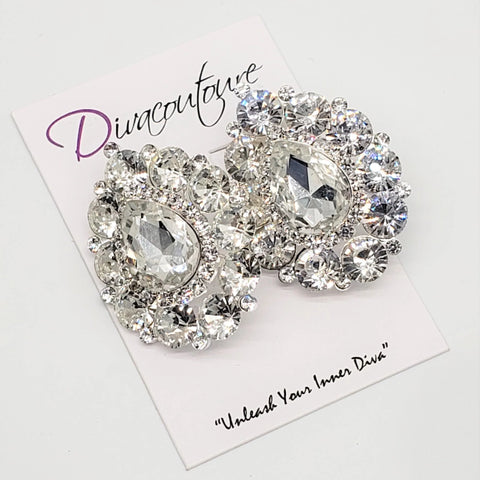 Silver Crystal Pear Earrings-CLIP