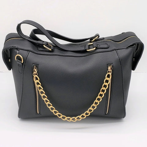 Black Zippered Chain Handbag