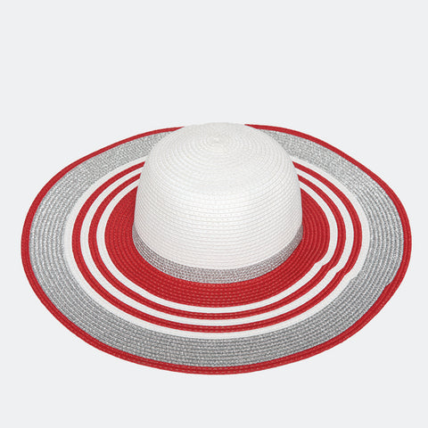 Silver/Red Trim Hat