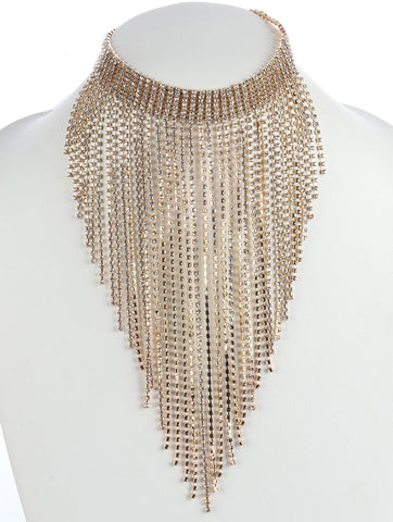 Rhinestone Chandelier Necklace-Gold