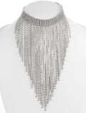 Rhinestone Fringe Necklace-Silver