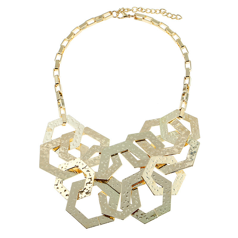 Gold Geometric Necklace Set