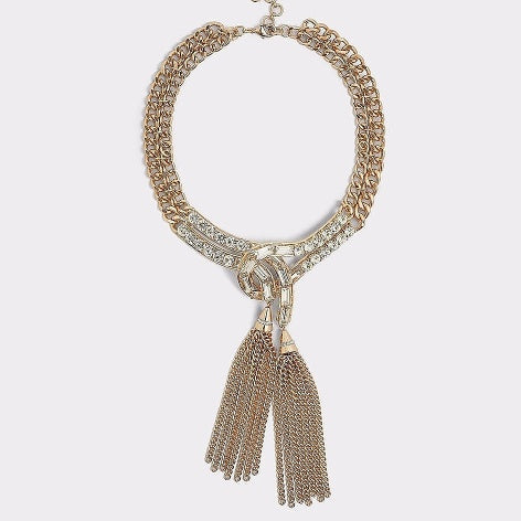 Crystal Accent Tassel Necklace
