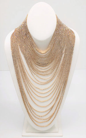 Rhinestone Multistrand Necklace-Gold