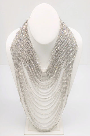 Rhinestone Multistrand Necklace-Silver