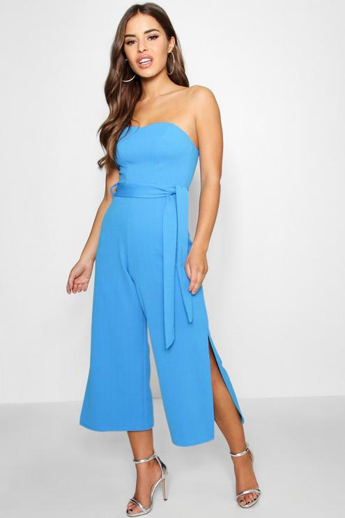 Blue Strapless Belted Jumpsuit