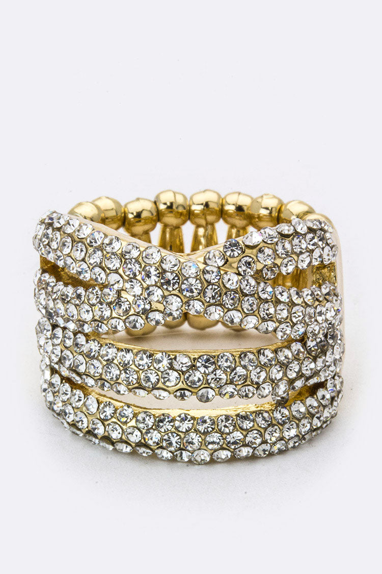 Rhinestone Criss Cross Ring