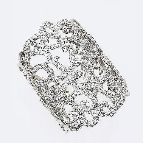 Scroll Rhinestone Accent Ring