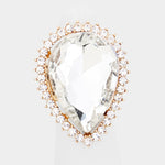 Pear Crystal Ring-Gold