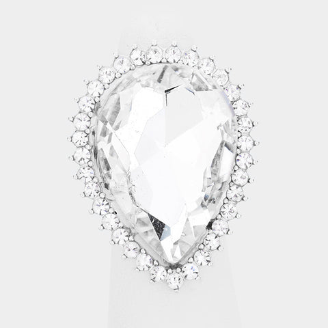 Pear Crystal Ring-Silver
