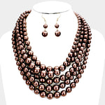 Chocolate Multistrand Pearl Necklace Set