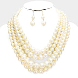 Gold Multistrand Pearl Necklace Set