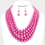 Purple Multistrand Pearl Necklace Set