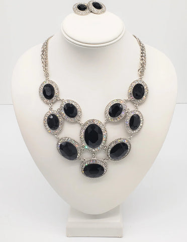 Black Crystal Accent Necklace Set