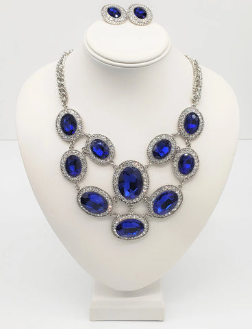 Blue Crystal Accent Necklace Set