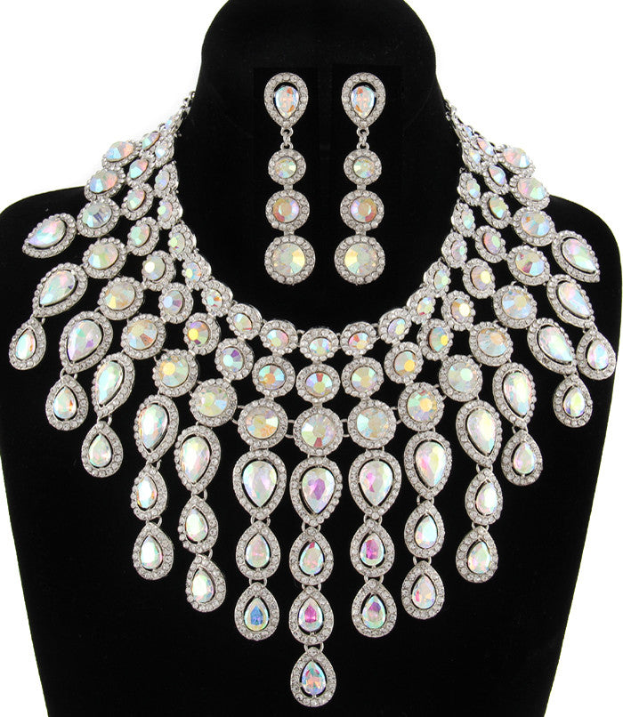 Crystal Goddess Necklace Set-Silver