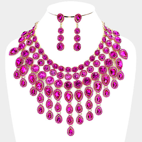 LUXE-Crystal Goddess Necklace Set-Fuschia
