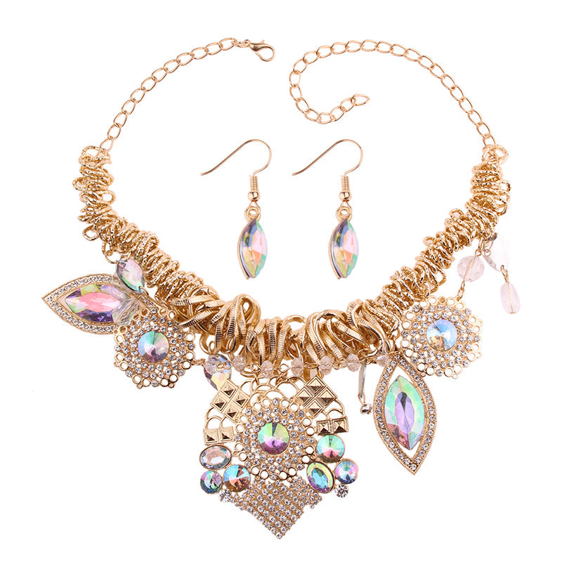 Gold Crystal Accent Charm Necklace Set