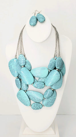 Turquoise Multistrand Necklace Set