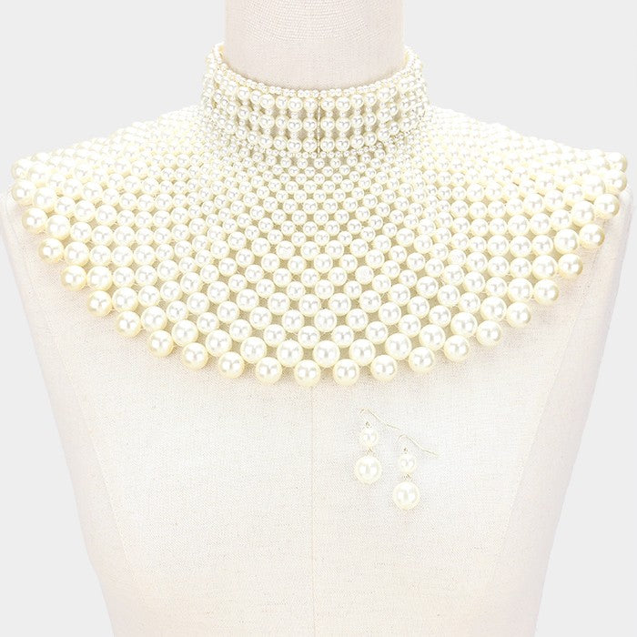 Pearl Collar Necklace Set