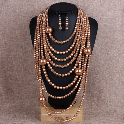 Amber Pearl Multistrand Necklace Set